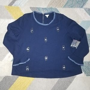 NWT Crown & Ivy Navy Jeweled Top 3X